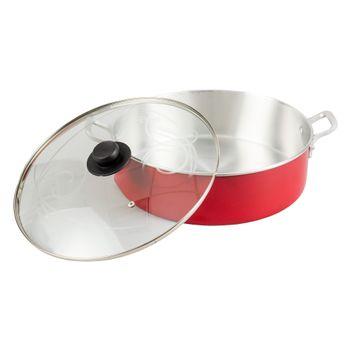 Arrocera de 34 cm Ekco Classic de 2 Piezas hecha de Aluminio Color Rojo Pulido con Tapa de Vidrio y Alta durabilidad
