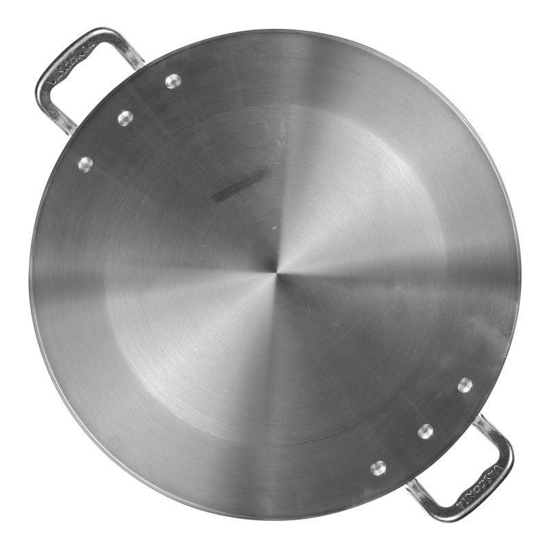 Paellera-Profesional-acorzada-de-4.0-mm-conica-Vasconia-Pro-de-Aluminio-Plateado-Pulido-con-Certificacion-NSF-tienda-en-linea-La-Vasconia