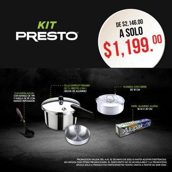 Kit Presto Mayo 2021 ahorra tiempo y conserva los nutrientes