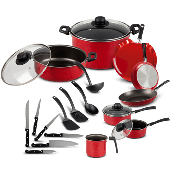 Batería de Cocina Ekco Sabor Rojo de 22 piezas conantiadherente