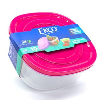 Set de Herméticos Ekco Click It de 10 pzs Multicolores y Apilables hechos de Polipropileno