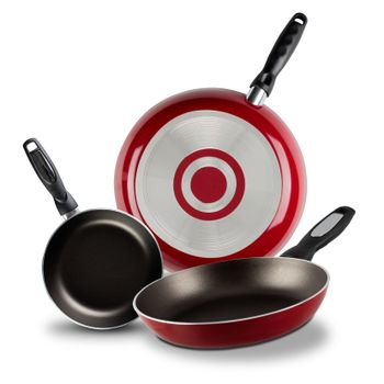 3 Pack de Sartenes Vasconia Básicos de 3 Piezas de Aluminio Color Rojo con Duraflon® PLUS