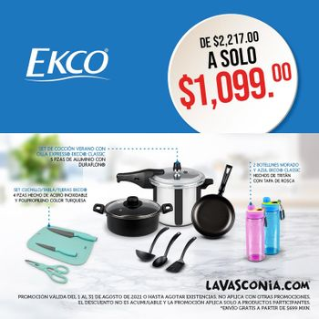 Kit Verano Plus Agosto 2021 con la Olla Express® Ekco con 5 Sistemas de seguridad