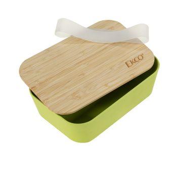 Contenedor Ekcológica de 1L Color Verde con Tapa de Bambú Libre de BPA