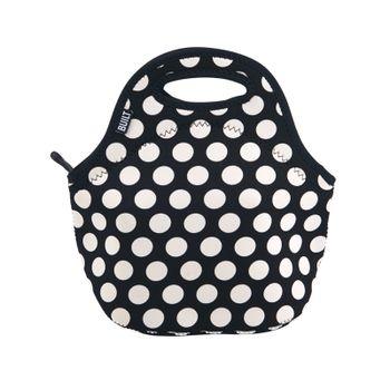 Bolsa de Almuerzo Built de 1 Pieza color Negro y Diseño de Lunares hecha de Neopreno, Material de Alto Rendimiento