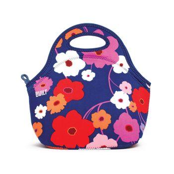 Bolsa de Almuerzo Built de 1 Pieza color Azul Marino y Diseño con Flores hecha de Neopreno, Material de Alto Rendimiento