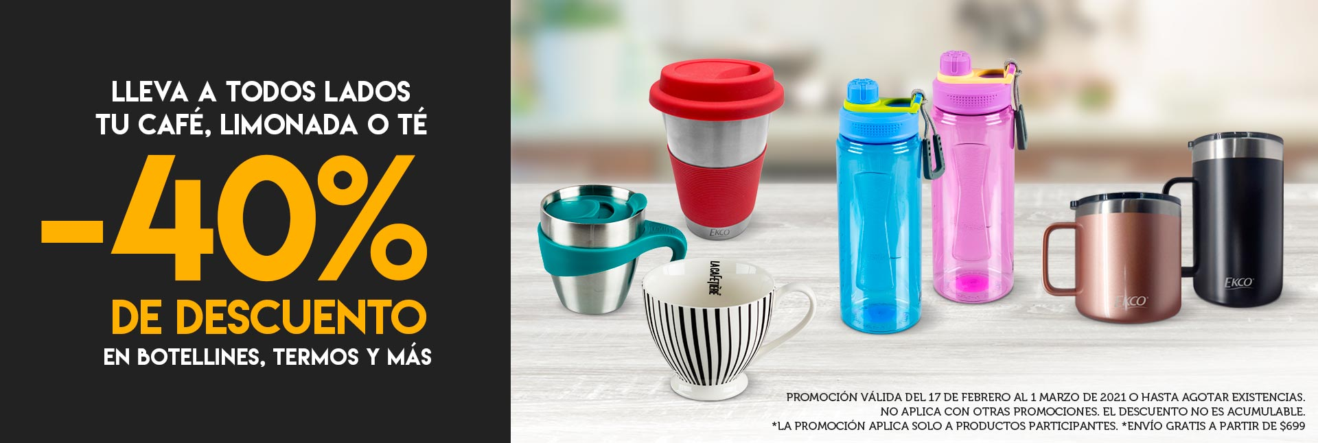 Lleva a todos lados tu café, limonada o té -40% De descuento en botellines, termos y más