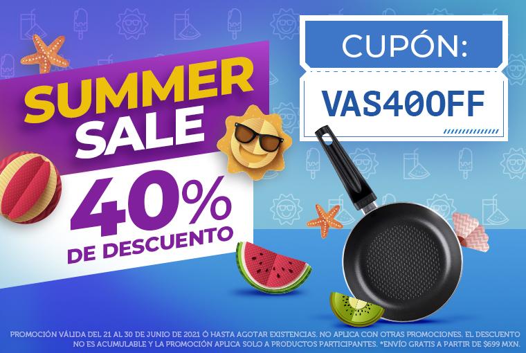¡SUMMER SALE! 40% DE DESCUENTO CUPÓN: VAS40OFF